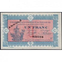 Toulouse - Pirot 122-15 - Série 2 - 1 franc - Annulé - 06/11/1914 - Etat : SUP