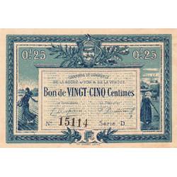 La Roche-sur-Yon (Vendée) - Pirot 65-26 - 25 centimes - Série D - 1916 - Etat : SUP