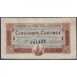 Toulouse - Pirot 122-22 variété - Série 3 - 50 centimes - Série 3 - 20/06/1917 - Etat : TTB+