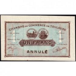Toulouse - Pirot 122-37 variété - Série 1 - 1 franc - Annulé - 19/11/1919 - Etat : SUP