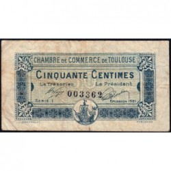 Toulouse - Pirot 122-39 - 50 centimes - Série 1 - 13/10/1920 - Etat : TB-