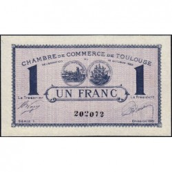 Toulouse - Pirot 122-41 - 1 franc - Série 1 - 13/10/1920 - Etat : SUP+