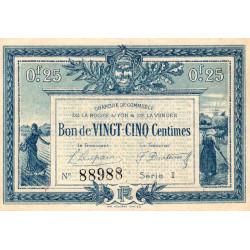 La Roche-sur-Yon (Vendée) - Pirot 65-26-I - 25 centimes - 1916 - Etat : TTB