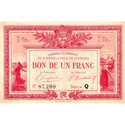 La Roche-sur-Yon (Vendée) - Pirot 65-33 - 1 franc - Série Q - 1922 - Etat : TTB