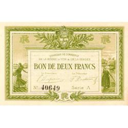 La Roche-sur-Yon (Vendée) - Pirot 65-10-A - 2 francs - 1915 - Etat : SUP+