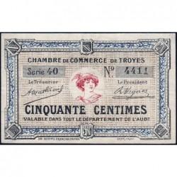 Troyes - Pirot 124-5 - 50 centimes - Série 40 - Sans date - Etat : TTB+