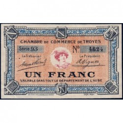 Troyes - Pirot 124-6 - Série 93 - 1 franc - Sans date - Etat : TTB+
