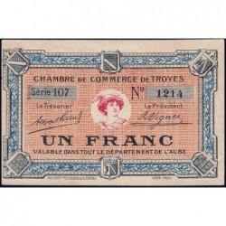 Troyes - Pirot 124-6 - Série 107 - 1 franc - Sans date - Etat : SUP