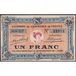 Troyes - Pirot 124-6 - 1 franc - Série 107 - Sans date - Etat : SUP