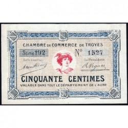 Troyes - Pirot 124-7a - 50 centimes - Série 192 - 4e émission - Sans date - ETAT : NEUF