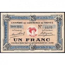 Troyes - Pirot 124-8 - Série 123 - 1 franc - 4e émission - Sans date - ETAT : SUP