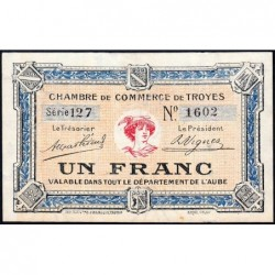 Troyes - Pirot 124-8 - 1 franc - Série 127 - 4e émission - Sans date - ETAT : SPL