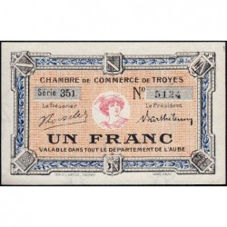 Troyes - Pirot 124-12b - 1 franc - Série 351 - 6e émission - Sans date - ETAT : SPL