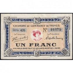 Troyes - Pirot 124-12b - 1 franc - Série 431 - 6e émission - Sans date - ETAT : TTB