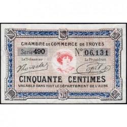 Troyes - Pirot 124-13 - 50 centimes - Série 490 - 7e émission - Sans date - ETAT : pr.NEUF