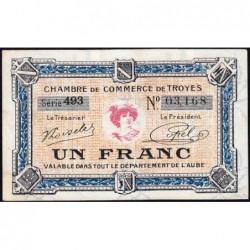 Troyes - Pirot 124-14 - 1 franc - Série 493 - 7e émission - Sans date - ETAT : SUP+