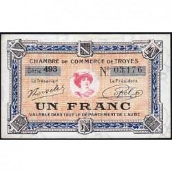 Troyes - Pirot 124-14 - 1 franc - Série 493 - 7e émission - Sans date - ETAT : SPL