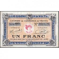 Troyes - Pirot 124-14 - 1 franc - Série 493 - 7e émission - Sans date - ETAT : pr.NEUF