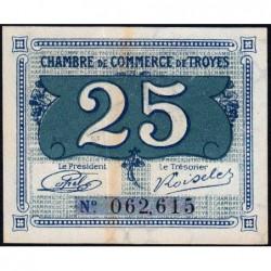 Troyes - Pirot 124-15 - 25 centimes - Sans série - Sans date - Etat : TTB+