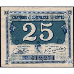 Troyes - Pirot 124-15 - 25 centimes - Sans série - Sans date - Etat : TTB