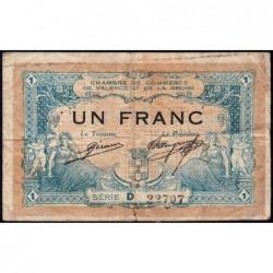 Valence (Drôme) - Pirot 127-3a - 1 franc - Série D - 23/02/1915 - ETAT : B+