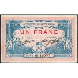Valence (Drôme) - Pirot 127-7 variété - 1 franc - Série M - 23/02/1915 - ETAT : TTB