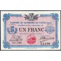 Vienne (Isère) - Pirot 128-18 - Série 129 - 1 franc - 11/09/1916 - ETAT : SUP+