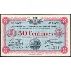 Vienne (Isère) - Pirot 128-21 - 50 centimes - Série AO 140 - 4e émission - 08/07/1918 - ETAT : SUP+