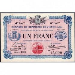 Vienne (Isère) - Pirot 128-23 - 1 franc - Série 108 - 4e émission - 08/07/1918 - ETAT : SUP+