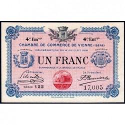 Vienne (Isère) - Pirot 128-23 - 1 franc - Série 122 - 4e émission - 08/07/1918 - ETAT : NEUF