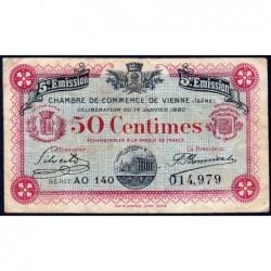 Vienne (Isère) - Pirot 128-26 - 50 centimes - Série AO 140 - 5e émission - 14/01/1920 - ETAT : TB