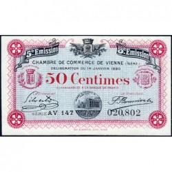Vienne (Isère) - Pirot 128-26 - 50 centimes - Série AV 147 - 5e émission - 14/01/1920 - ETAT : SUP+