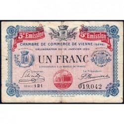 Vienne (Isère) - Pirot 128-27 - Série 121 - 1 franc - 5e émission - 14/01/1920 - ETAT : TB-