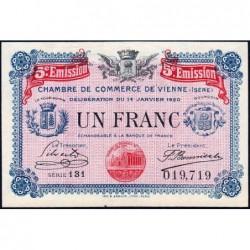 Vienne (Isère) - Pirot 128-27 - Série 131 - 1 franc - 5e émission - 14/01/1920 - ETAT : SPL
