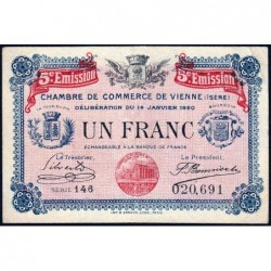 Vienne (Isère) - Pirot 128-27 - 1 franc - Série 146 - 5e émission - 14/01/1920 - ETAT : TTB