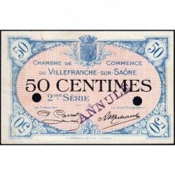 Villefranche-sur-Saône - Pirot 129-8 - 50 centimes - 2me Série - Annulé - 30/06/1918 - ETAT : SUP+