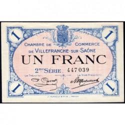Villefranche-sur-Saône - Pirot 129-9 - 1 franc - 2me Série - 30/06/1918 - ETAT : SUP+