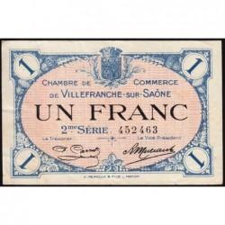 Villefranche-sur-Saône - Pirot 129-9 - 1 franc - 2me Série - 30/06/1918 - ETAT : TTB