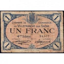 Villefranche-sur-Saône - Pirot 129-17 - 1 franc - 4me Série - 30/09/1921 - ETAT : B