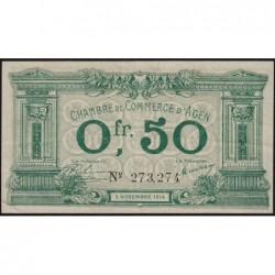 Agen - Pirot 2-1b variété - 50 centimes - 05/11/1914 - Etat : TTB+