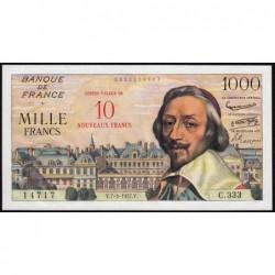 F 53-01 - 07-03/1957 - 10 nouv. francs sur 1000 francs - Richelieu - Etat : TSUP+B