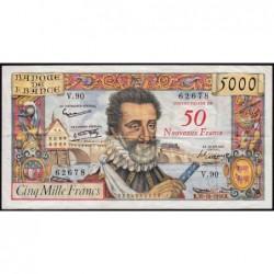 F 54-01 - 30/10/1958 - 50 nouv. francs sur 5000 francs - Henri IV - Etat : TTB-
