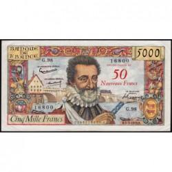 F 54-02 - 05/03/1959 - 50 nouv. francs sur 5000 francs - Série G.98 - Henri IV - Etat : TB+