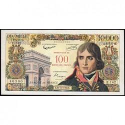 F 55-01 - 30/10/1958 - 100 nouv. francs sur 10000 francs - Bonaparte - Série E.142 - Etat : TB+