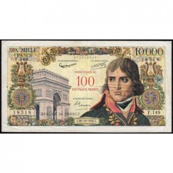 F 55-01 - 30/10/1958 - 100 nouv. francs sur 10000 francs - Bonaparte - Série F.149 - Etat : TB