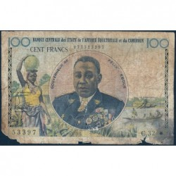 Cameroun - Afrique Equatoriale - Pick 1e - 100 francs - Série C.32 - 1961 - Etat : AB-