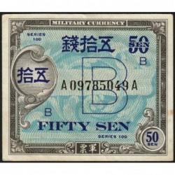 Japon - Occcupation alliée - Pick 65 - 50 sen - Série 100 B / AA - 1945 - Etat : TTB