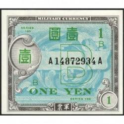 Japon - Occcupation alliée - Pick 67a - 1 yen - Série 100 B / AA - 1945 - Etat : SPL+