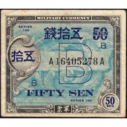 Japon - Occcupation alliée - Pick 65 - 50 sen - Série 100 B / AA - 1945 - Etat : TB