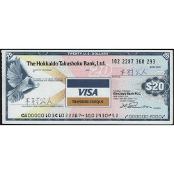 Japon - Chèque de voyage - Hokkaido Takushoku Bank - 20 dollars - 1991 - Etat : SUP+